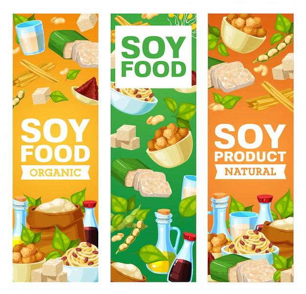 Banners voor sojabonen en sojaproducten. miso-pasta, sojasaus en tofu-kaas, sojamelk en -olie, bloem, vlees en huid, tempeh en gekiemde bonen. aziatische keuken, vegetarische en veganistische voeding