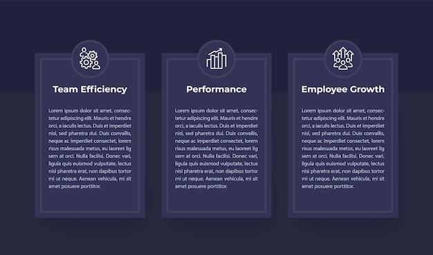 Banners voor teamefficiëntie, prestaties en personeelsgroei met lijnpictogrammen