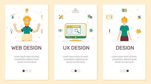 Banners voor telefoon, ontwerp, ux