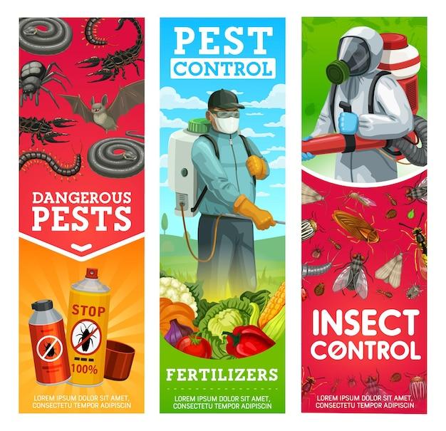 Banners voor tuinongedierte en insecten. man in hazmat-pak en gasmasker sproeien van pesticiden op groenten met sproeier en begassingsmachine, insectenwerende middelen of insecticidespray tegen ongedierte