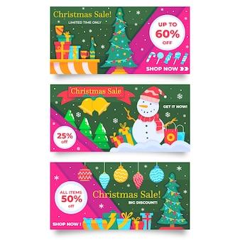 Banners voor verkoopaanbiedingen op kerstmisseizoen
