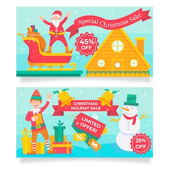 Banners voor verschillende verkoopaanbiedingen op kerstseizoen