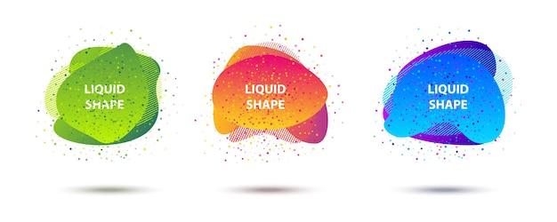 Bannerset met abstracte vloeiende vormen Gratis Vector