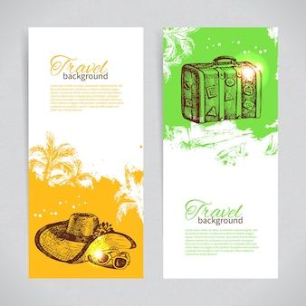 Bannerset van kleurrijke tropische plonsachtergronden voor reizen