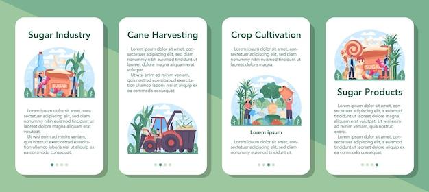 Bannerset voor mobiele applicatie van suikerproductie-industrie. sacharose en fructose gewonnen uit suikerriet en suikerbiet. gewasteelt, oogst en verwerking. platte vectorillustratie