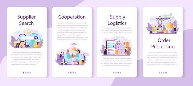Bannerset voor mobiele applicaties van leveranciers
