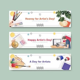 Bannersjablonen met internationale artiestendag in aquarelstijl