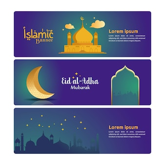 Bannersjablonen voor islamitisch thema
