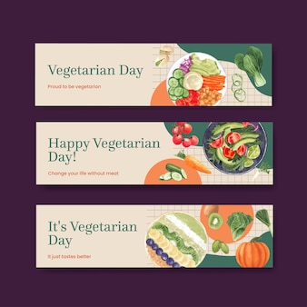 Bannersjablonen voor wereldvegetarische dag in aquarelstijl