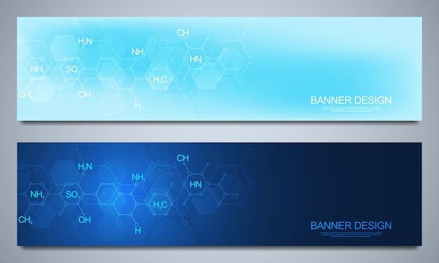 Bannersjabloon en headers voor site met abstracte chemieachtergrond en chemische formules. wetenschap en innovatie technologie concept. decoratie website en andere ideeën.