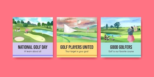 Bannersjabloon met golfliefhebber in aquarelstijl
