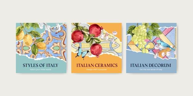 Bannersjabloon met italiaanse stijl in aquarelstijl