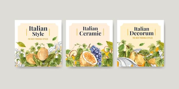 Bannersjabloon met italiaanse stijl in aquarelstijl Premium Vector