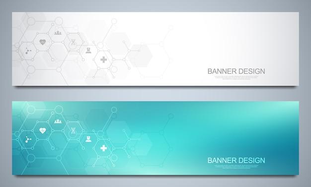 Bannersjabloon voor gezondheidszorg en medische decoratie met pictogrammen en symbolen. wetenschap, geneeskunde en innovatie technologie concept.
