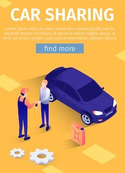 Bannersjabloon voor mobiele tekst voor online autodeeldiensten