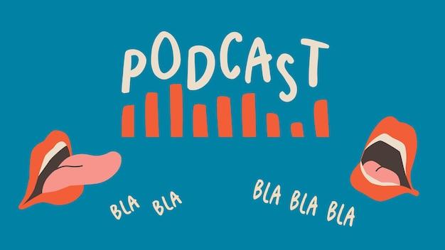 Bannersjabloon voor podcastshow. pratende monden, lippen. trend vector design op blauwe achtergrond.