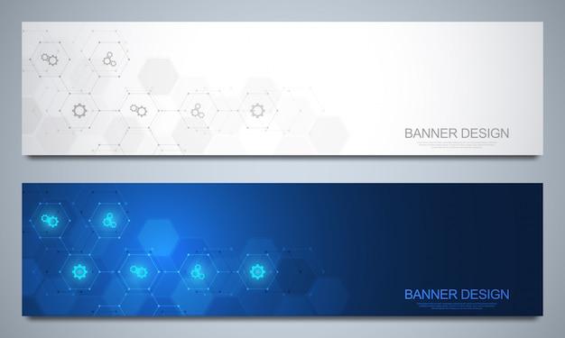 Bannersjabloon voor technologische en medische decoratie met pictogrammen en symbolen. wetenschap, geneeskunde en innovatie technologie concept.