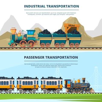 Bannersmalplaatje met gekleurde illustraties van retro treinen