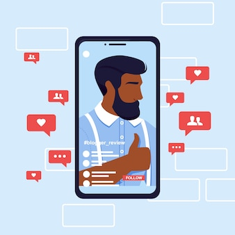 Banneruitzending in sociaal netwerk van de mens.