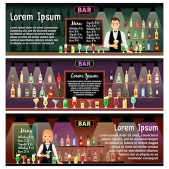 Bar banners sjabloon set met barman en alcohol flessen op planken. vector illustratie