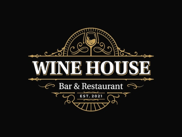 Bar en restaurant sierlijke vintage typografie logo met decoratief sier bloeien frame