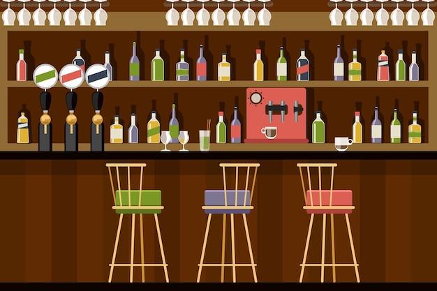 Bar interieur in vlakke stijl