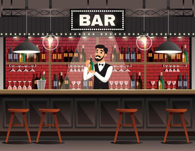 Bar interieur realistische samenstelling