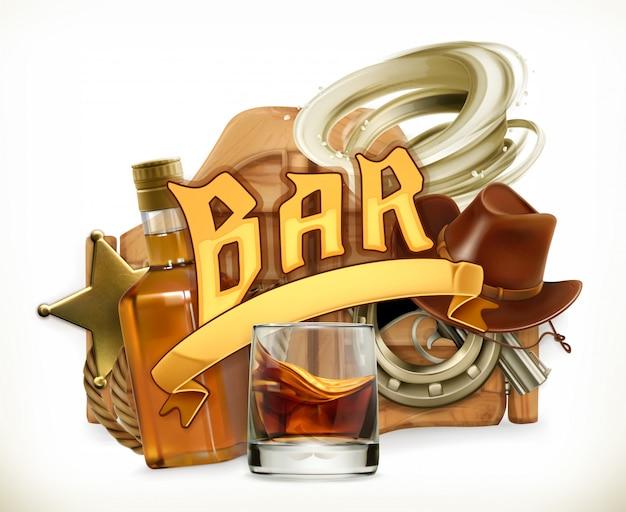 Bar logo. westerse retrostijl. 3d embleem