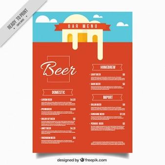 Bar menu in plat design