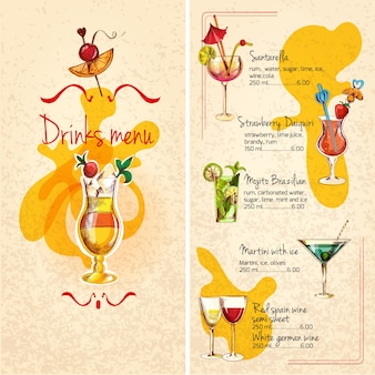 Bar menuschets