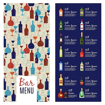 Bar menusjabloon. alcohol menu boekje flyer sjabloon met flessen patroon, vectorillustratie