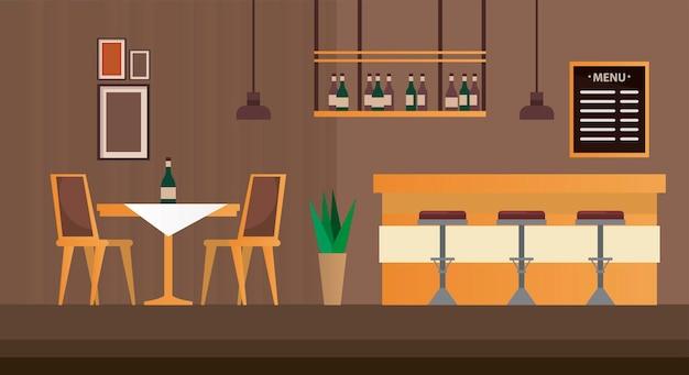 Bar met tafel en stoelen, restaurant voor meubelscène