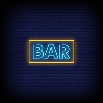 Bar neon signs style tekst