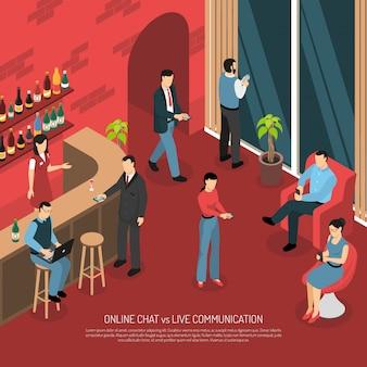 Bar online chatten isometrische illustratie