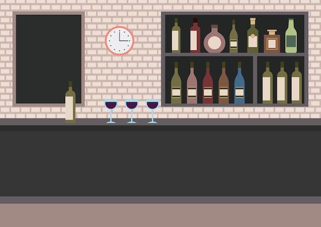 Bar-restaurant met tegenwijn-bekers en -planken