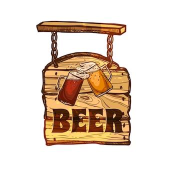 Bar teken op een houten bord
