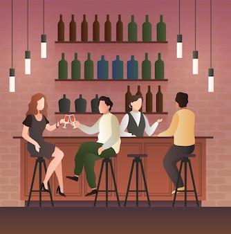 Bar teller. man en vrouw op date met een drankje in de bar, mensen zitten op de stoelen in een pub en drinken bier en wijn artoon platte vectorillustratie
