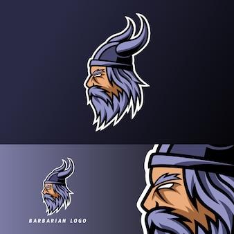 Barbaarse helm mascotte sport gaming esport logo sjabloon voor ploeg team club