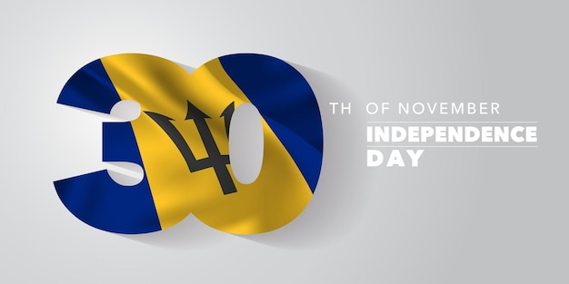Barbados gelukkige onafhankelijkheidsdag vector banner, wenskaart. barbadosiaanse golvende vlag in niet-standaard ontwerp voor de nationale feestdag van 30 november