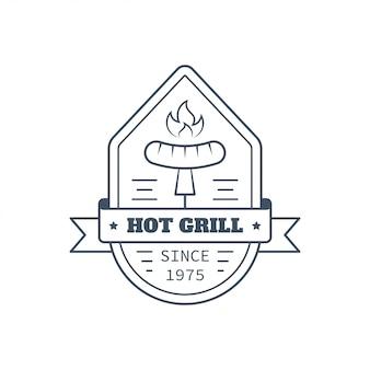 Barbecue badge ontwerp, lijn kunst vectorillustratie