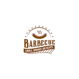 Barbecue bbq grill restaurant eten drinken logo, barbecue vuur vlees worst spatel element