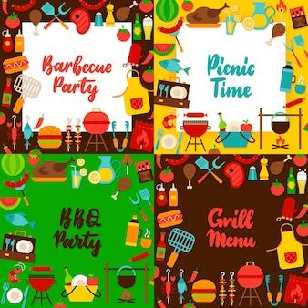 Barbecue belettering posters set. vectorillustratie van vlakke stijl ansichtkaarten.