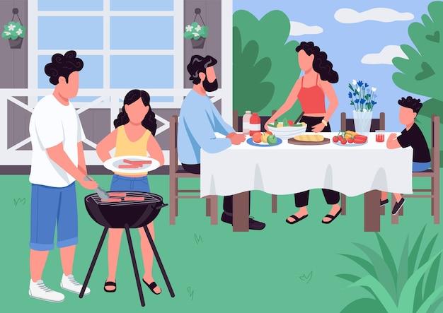 Barbecue egale kleur illustratie. bbq in de achtertuin van het huis. barbecue voor ouders en kinderen. vakantie-activiteit. kaukasische familie 2d stripfiguren met landschap op achtergrond