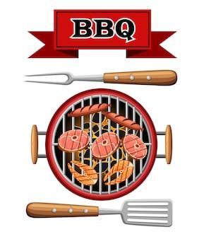 Barbecue elementen grill bovenaanzicht brandende kolen bbq picknick kooktoestel met vlees, vis en worstjes illustratie op witte achtergrond website-pagina en mobiele app