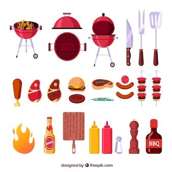 Barbecue-elementencollectie in plat ontwerp