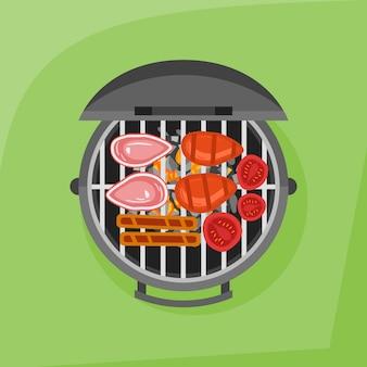 Barbecue en gegrilde biefstuk, worst en tomaat. bovenaanzicht illustratie.