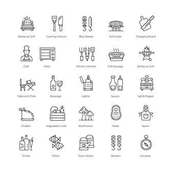 Barbecue en grill line icons pack