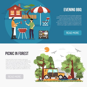 Barbecue en picknick banners