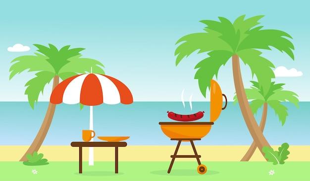 Barbecue en tafel bij palmen en strand tijd voor zomerbarbecue of kamperen