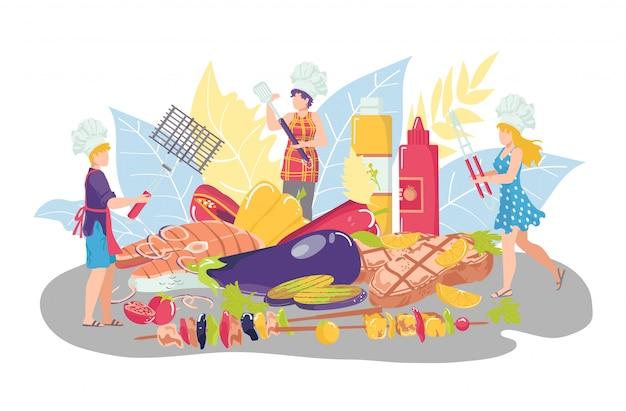Barbecue eten, illustratie. bbq, picknick grillfeest met vlees. mensen vrouw karakter met maaltijd menu concept, lunch achtergrond. koken biefstuk varkensvlees, warm diner.